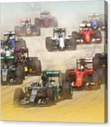 Lewis Hamilton Leads The Pack Canvas Print
