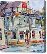 Liberty Bar In San Antonio. Rainy Day. Canvas Print