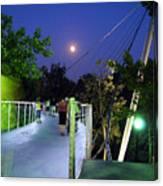 Liberty Bridge At Night Greenville South Carolina Canvas Print