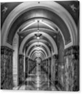 Library Of Congress Building Hallway Bw Canvas Print