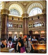 Library Of Congress, Main Reading Room, Jefferson Building - 2 Canvas Print