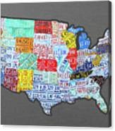 License Plate Map Of The United States Edition 2016 On Steel Background Canvas Print
