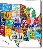 License Plate Map Of The United States Outlined Canvas Print