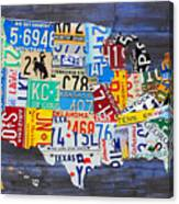 License Plate Map Of The Usa On Blue Wood Boards Canvas Print