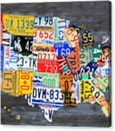 License Plate Map Of The Usa On Gray Distressed Wood Boards Canvas Print