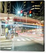 Light Trails On 17th And Market Canvas Print