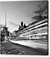Light Trails On O'connell Street At Night - Dublin Canvas Print