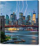 Lightening Striking Manhattan Canvas Print