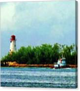 Lighthouse And Boat Nassau Bahamas Canvas Print