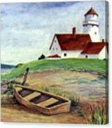 Lighthouse And Dinghy Canvas Print