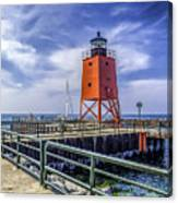 Lighthouse At Charlevoix South Pier  Canvas Print