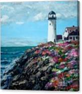 Lighthouse At Flower Point Canvas Print