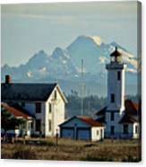 Lighthouse Before Mountain Canvas Print