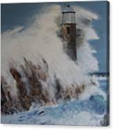 Lighthouse In A Storm Canvas Print
