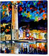Lighthouse In Crete - Palette Knife Oil Painting On Canvas By Leonid Afremov Canvas Print