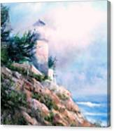 Lighthouse In The Mist Canvas Print