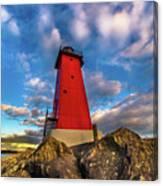 Lighthouse Manistique Sunset -5350 Canvas Print