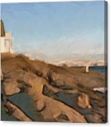 Lighthouse On The Ocean Canvas Print
