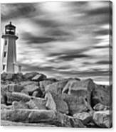 Lighthouse Peggys Cove - Black And White Canvas Print