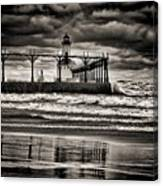 Lighthouse Reflections In Black And White Canvas Print