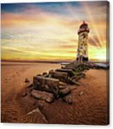 Lighthouse Sunset Wales Canvas Print