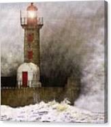 Lighthouse Weathering A Storm At Sea H A Canvas Print