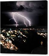 Lightning During A Thunderstorm On The Island Of Santorini, Greece Canvas Print