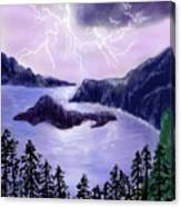 Lightning In Purple Clouds Canvas Print