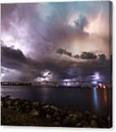 Lightning Over The Sanibel Bridge Canvas Print