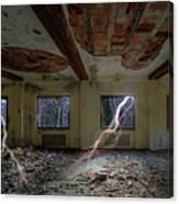 Lightnings On The Abandoned Hotel Of Liguria Mountains - Fulmini Su Hotel Abbandonato Sull'av Canvas Print