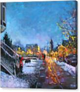 Lights On Elmwood Ave Canvas Print