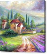 Lilac Fields In The Italian Countryside   Canvas Print