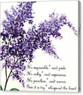 Lilac  Poem Canvas Print
