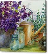Lilacs And Ball Jars Canvas Print