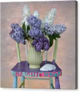 Lilacs With Chair And Shell Canvas Print