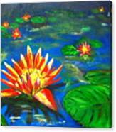 Lilies By The Pond Canvas Print