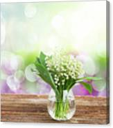 Lilly Of Valley Posy In Glass Canvas Print