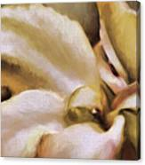 Lily In The Garden Neutral Canvas Print
