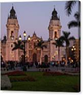 Lima Cathedral At Night Canvas Print
