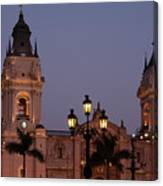 Lima Cathedral Twin Towers One Canvas Print