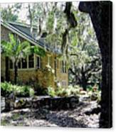 Limestone Home In The Trees Canvas Print