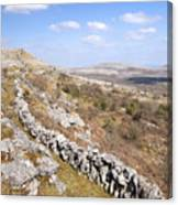 Limestone Pavements And Dry-stone Walls, Fahee North, Burren, County Clare, Ireland Canvas Print