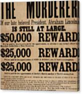 Lincoln Assassination Reward Poster Canvas Print