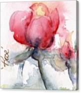 Linda's Rose Watercolor Canvas Print