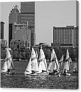 Line Of Boats On The Charles River Boston Ma Black And White Canvas Print