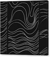 Lines 1-2-3 White On Black Canvas Print