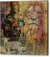Lion And Lamb Collage Canvas Print