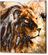 Lion Collage On Color Abstract Background Rust Structure Wildlife Animals Canvas Print