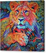 Lion In Burst Canvas Print