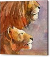 Lion, Lioness Canvas Print